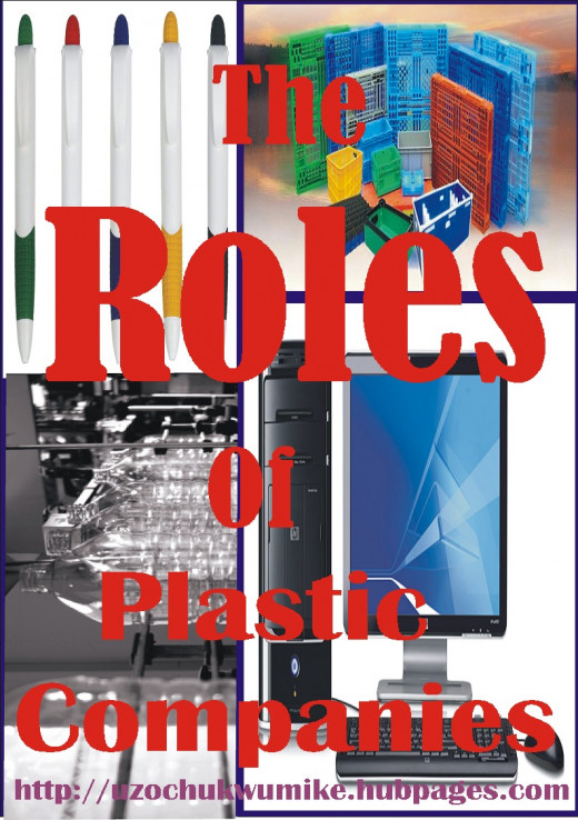The picture illustrates the roles of plastic companies. It covers many areas including electronics, computer, education, and household.