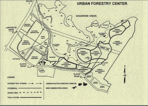 Map taken from the mail box at the Urban Forestry Center
