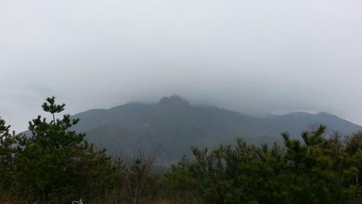 Sakurajima on a cloudy day.