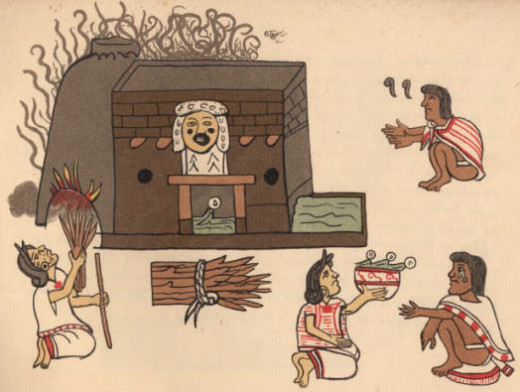 Picture depicts someone enjoying an Aztec steam bath.