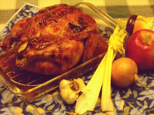Apricot glazed chicken. Brushing your chicken with apricot jam before roasting the top makes it nice and brown.