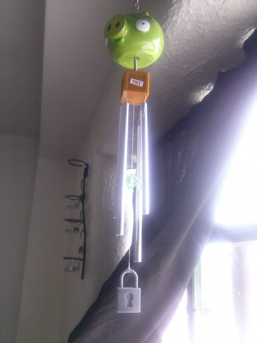 My green piggy wind chime, yes it's inside!