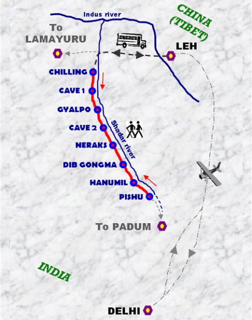 Chadar Trek Route Map