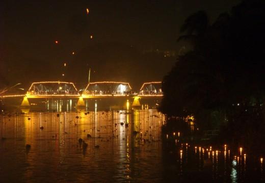 Ping River Krathongs and illuminated bridge