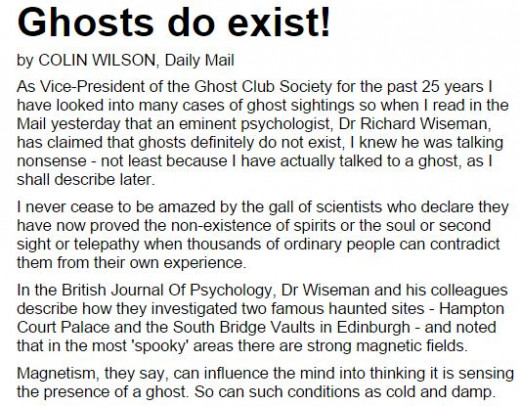 Click on the link to read this fascinating article as to why he thinks ghosts exist.