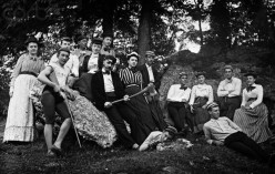 1890 teens and chaperones at an outdoor gathering.