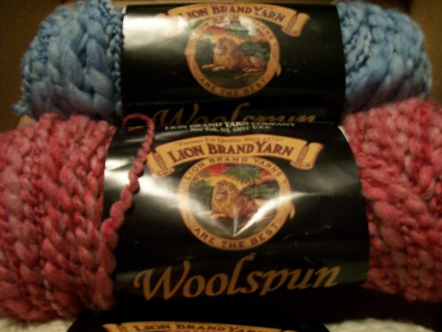 Red and Blue skeins of WoolSpun yarn.