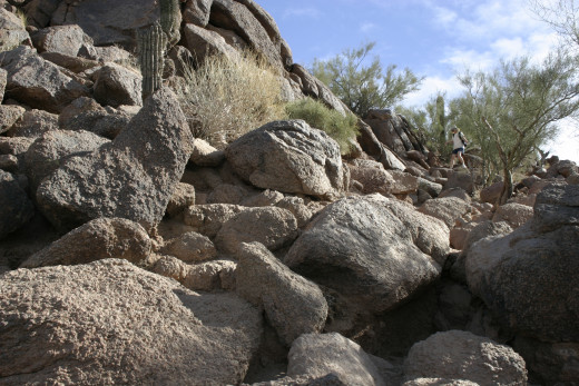 One of several boulder fields to scramble through.