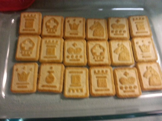 Pepperidge Farm Chessmen cookies lining bottom of casserole dish