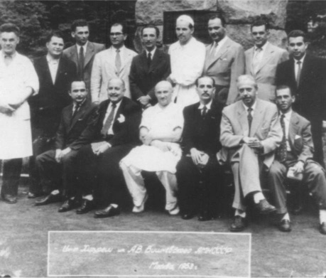 Vladimir Demikhov (standing, 4th from left) at the Institute of Surgery in Moscow, 1953.