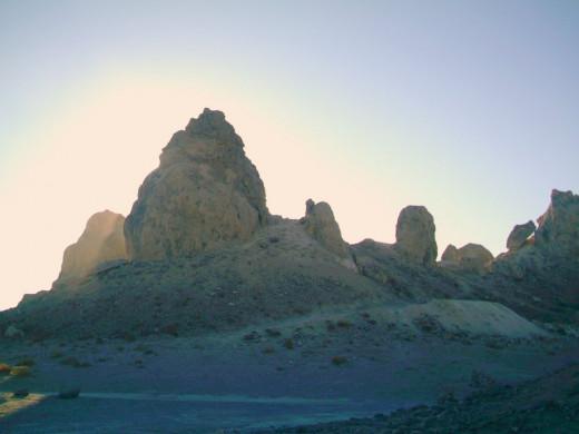 Sunrise gleaming at the Trona Pinnacles