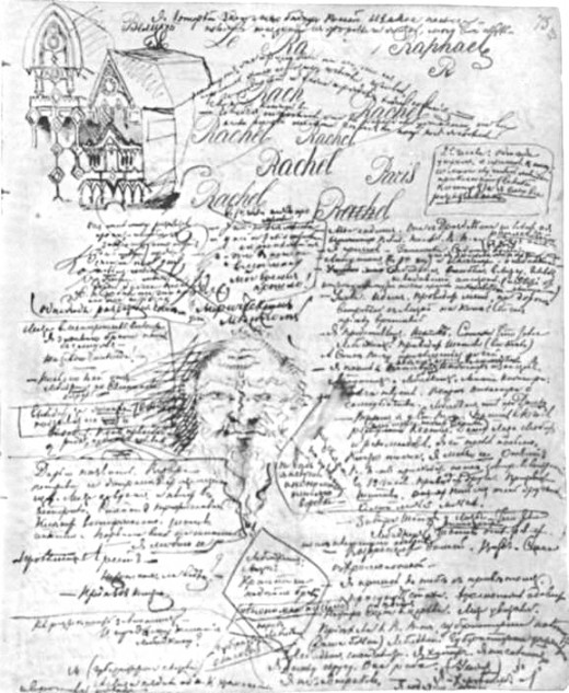 An example of Dostoevski's doodling habits in various languages: a manuscript page from Demons (1872)