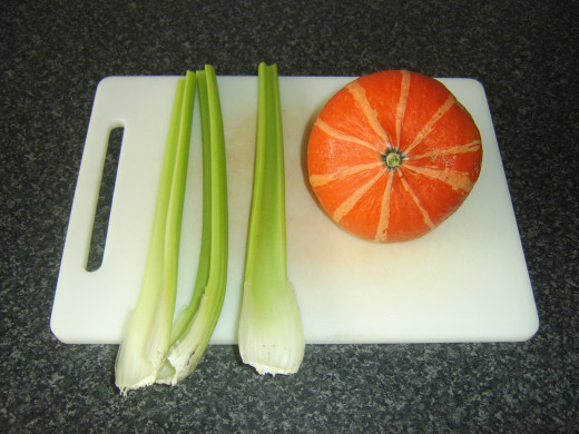 Celery and onion squash for soup