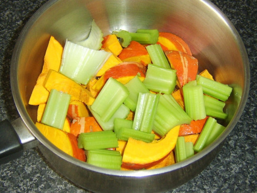 Chopped celery and onion squash