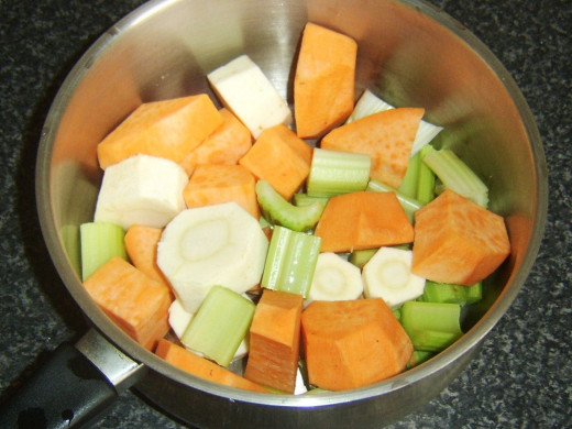 Chopped celery, sweet potato and parsnip