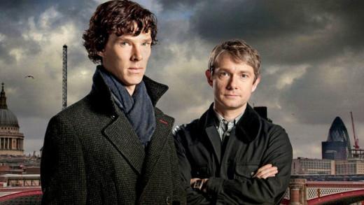 Benedict Cumberbatch and Martin Freeman as Holmes and Watson in the BBC series, Sherlock