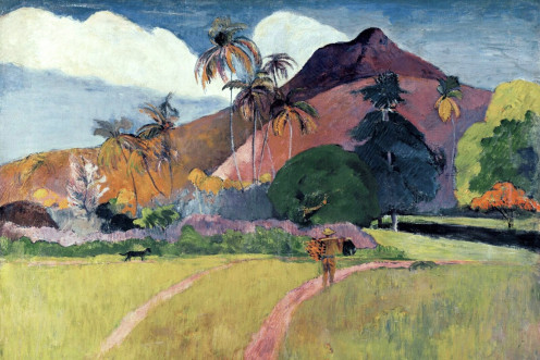 Paul Gauguin- Tahitian Landscape with a Mountain (1893)