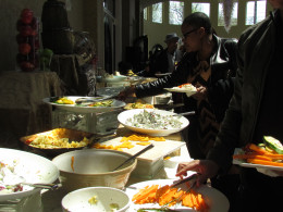 A display of platters with various appetizers were available for the guests at The Waterfalls facility.