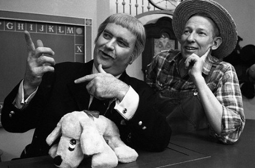 """Capt. Kangaroo, Bob Keeshan; ""Mr. Green Jeans, Lumpy Branam; ""Mr. Moose,"" Cosmo Allegreti, puppeteer."