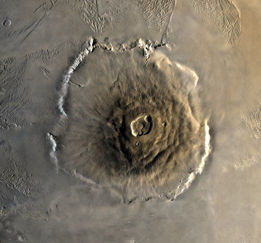 Photo of Olympus Mons taken by the Viking 1 orbiter.  As well as being the biggest volcano on Mars, it is also the planet's youngest, having formed during Mars's Amazonian Period.