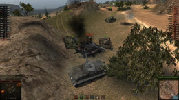 These friendly tanks have isolated and defeated a single enemy tank. This is the wolf pack overwhelming a powerful foe through superior numbers and tactics.