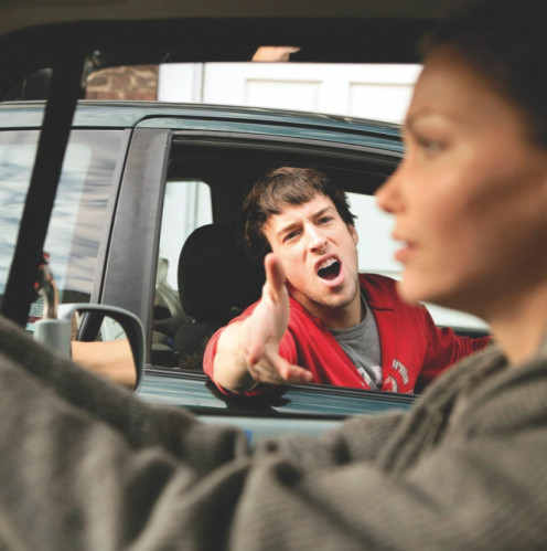 This punk's common sense is being dimmed by road rage.