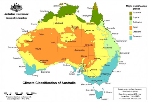This is the map of Australia, showing you climatic zones, as you can see the city of Brisbane is in the subtropical zone, which is somehow hotter than the temperate zone.