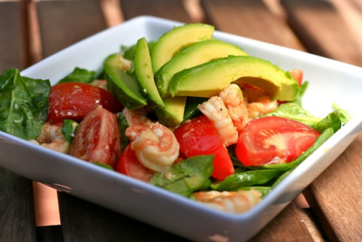 Put some avocado in your shrimp salad to make you feel full faster and to help absorption of nutrients. Plus, it's delicious!