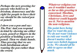 In present day countries we need the pen rather than the sword.