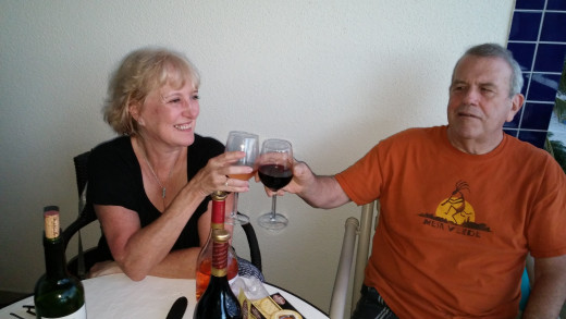 Kathy and Phil toasting