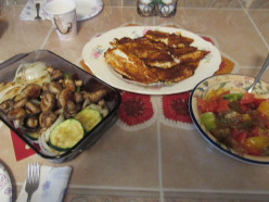 Chili Rubbed Tilapia with Grilled Zucchini, Onion and Mushrooms and Heirloom Tomato Salad