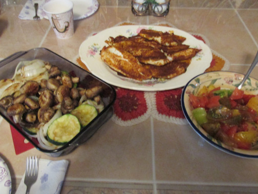 Tilapia and vegetable dinner