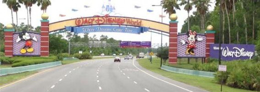 Driving through the 'Magical Gates' of the Disney Empire in Orlando.