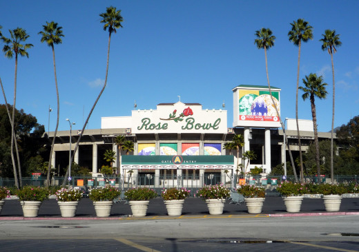 The Rose Bowl stadium, whose field sits literally in a bowl below ground level, seats over 92,000.