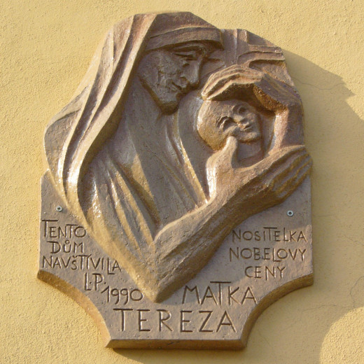 Plaque dedicated to Mother Teresa, Wenceslas Square, Olomouc, Czech Republic.