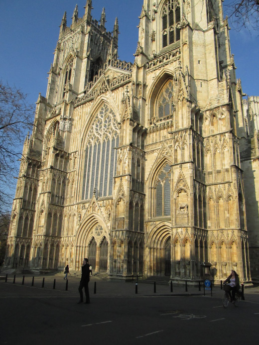 West front of the cathedral on Deangate, . Building began originally in AD 637. The earlier cathedral burnt down in 1068 when a fire to clear buildings from around the Norman castle got out of hand. This edifice was finally consecrated AD 1472
