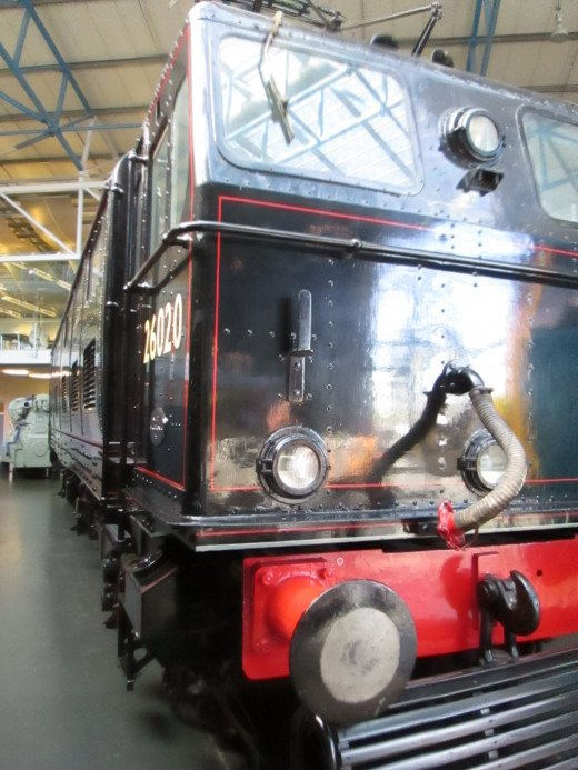 Preserved electric locomotive of the type built for the Sheffield-Manchester Woodhead route closed in the mid 1960's (short-sighted or what?). In the 'roundhouse' near the turntable.