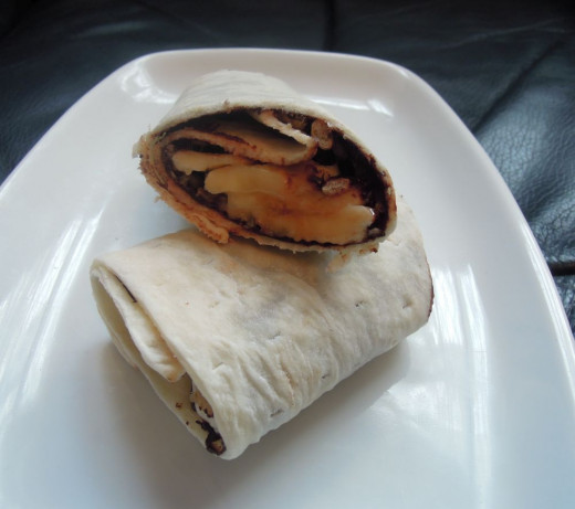 Banana and chocolate wrap. The recipe can be found here: https://theelderberrykitchen.co.uk/2015/05/01/delicious-banana-and-chocolate-wrap/
