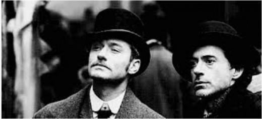 Robert Downey Jnr and Jude Law as Holmes and Watson