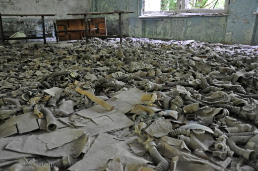 Gas masks left behind in a school