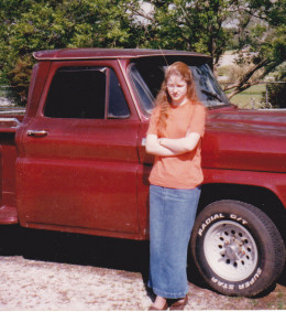 Naomi Ruth by the old 65 short-bed Chevy in Alabama, 1997