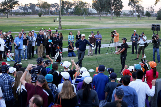 PGA Tour visits MCAS Miramar. Chaley Hoffma(left), Rickie Fowler(right) sharing their expert advice with children.