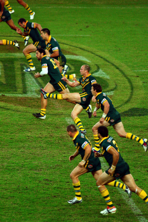 The aussies at a kick off.