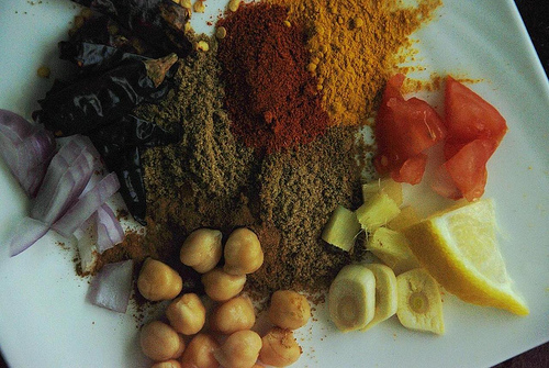 Ingredients for the Chole Masala