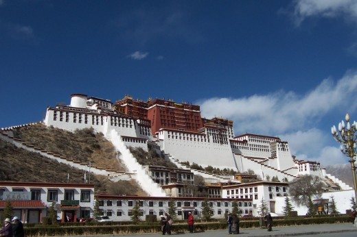 The great Potala in Lhasa --- former seat of power of the Tibetan government prior to the Chinese invasion.  It was the Tibetan version of the White House.  It is still there but is now used by the Chinese as a tourist attraction.