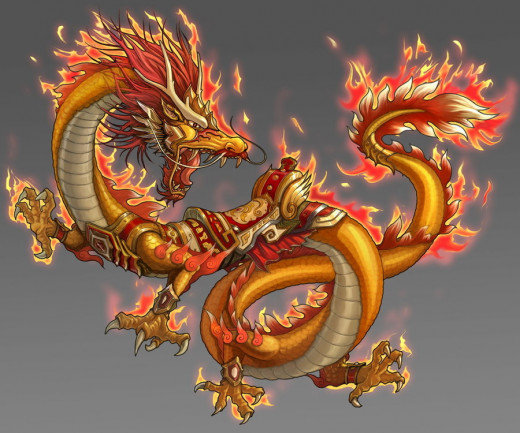 A majestic Chinese Dragon drawn by a digital artist.