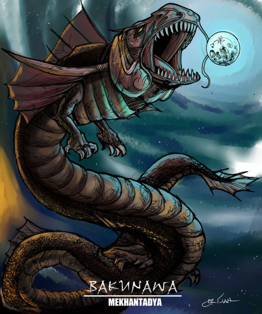 Bakunawa eating the moon, as represented by a digital artist.