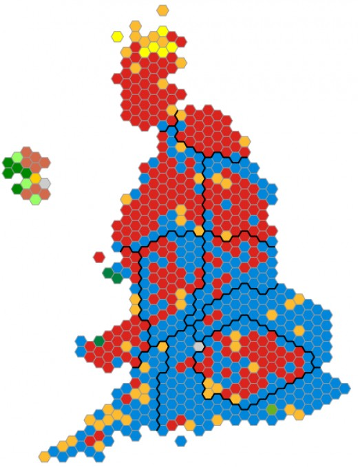 Blue = Conservatives Red= Labour Orange= Lib Dem yellow =SNP