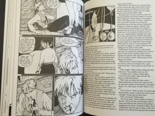"""Terry Moore uses intermedia throughout Strangers in Paradise.  In this example, we have a comic page followed by a detective novel """"excerpt;"""" unlike some examples, what's happening in the novel is in fact is happening within the comic's universe."""