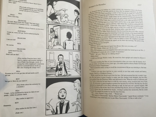 These pages contain not only comic art and prose, but drama format as well.  The prose, though similar to the earlier detective novel, is actually part of a novel within the series, giving commentary, foresight, and something of an alternate ending.